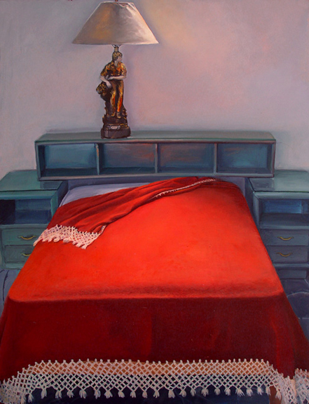 Vermillion Bed , 2003, oil on panel