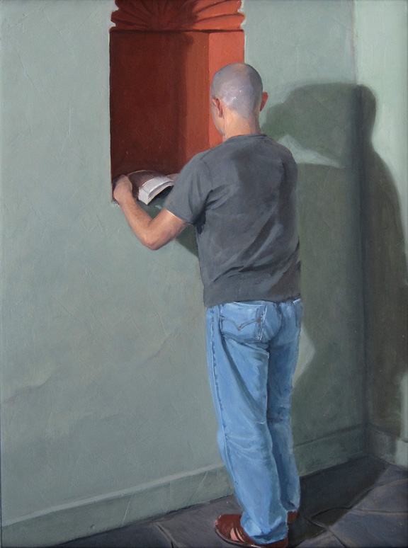 "Man with Shadow , 2003, oil on panel, 33""x 26"""