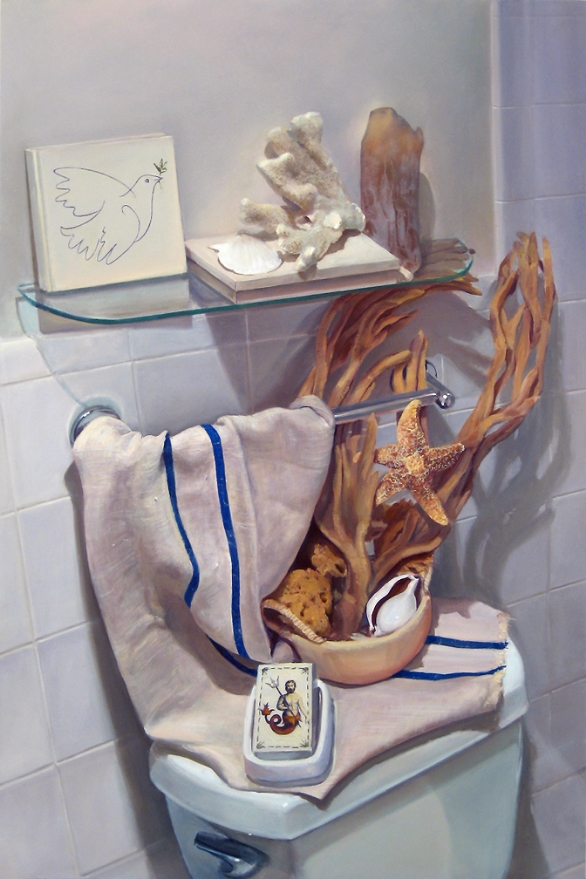 "Dove and the Bride Stripped Bare by Her Bachelors , 2012, oil on panel, 36""x 24"""