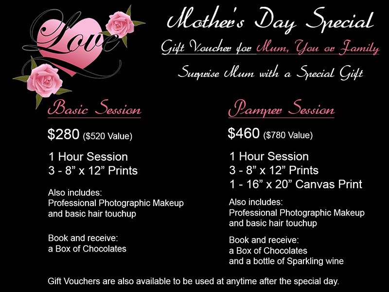 Brisbane's mothers day portrait glamour family special. Photography vouchers. Get mum a present for mother's day, making sure she gets the best photos she will ever get...just because she deserves it!