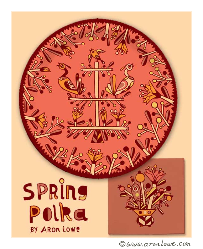 Spring Polka Plate and Napkin Design