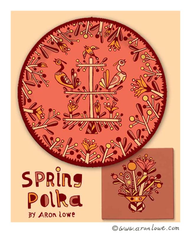Spring Polka Plate and Napkin Design