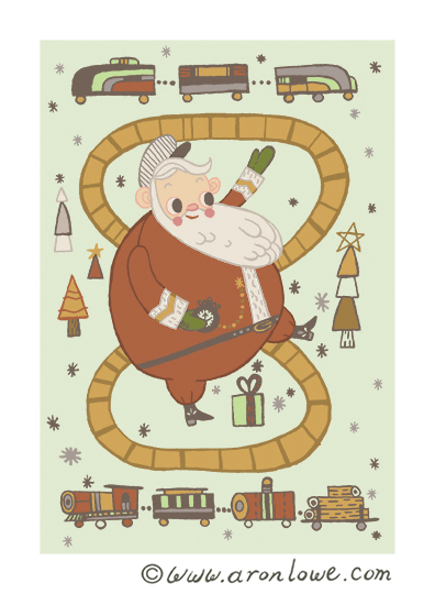 Santa Train Card Design