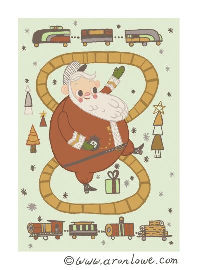 Santa Train Card Design