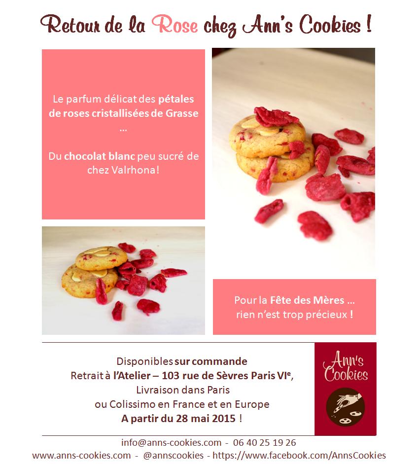 cookies Pétales de Rose et Chocolat Blanc
