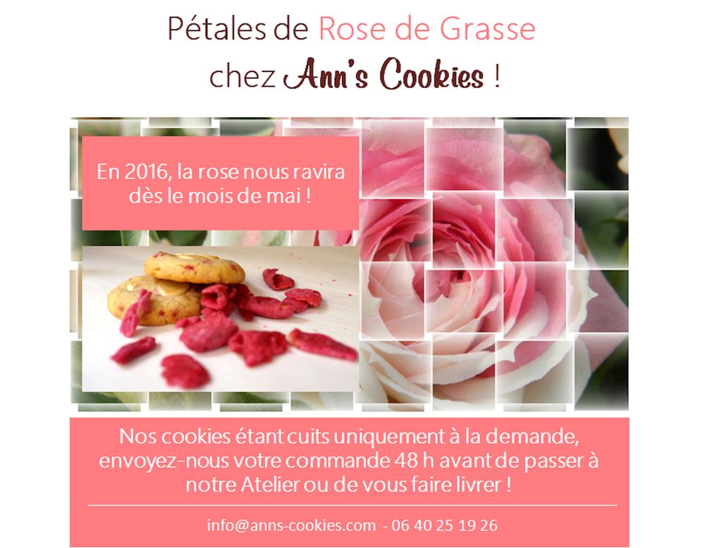 Cookies aux pétales de roses de Grasse et chocolat blanc Valrhona