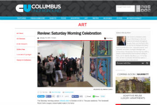 Review of an arts exhibit focusing on memories of Saturday morning cartoons.