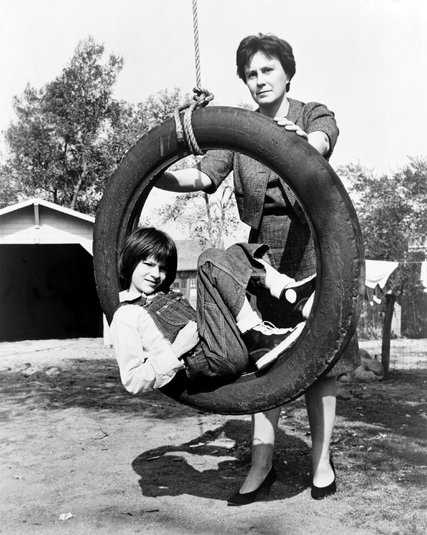 "Harper Lee with Scout (Mary Badham) on the set of ""To Kill a Mockingbird"""