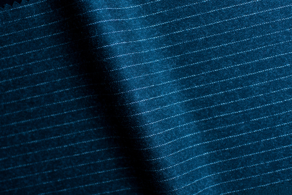 Dark Charcoal Sheen Narrow Pinstripe Tweed