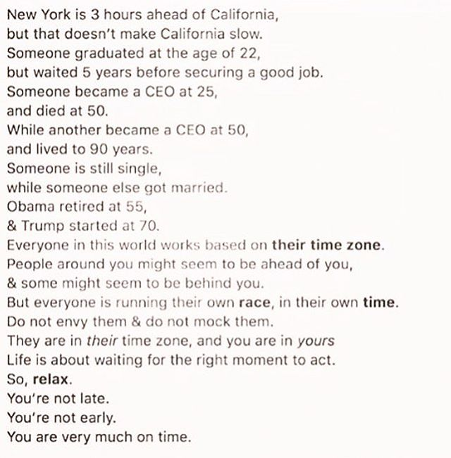 Don't worry so much. You are right where you're supposed to be. Keep crushing it. 👊🏽 #timezone #time #inspirational #boost #keepgoing