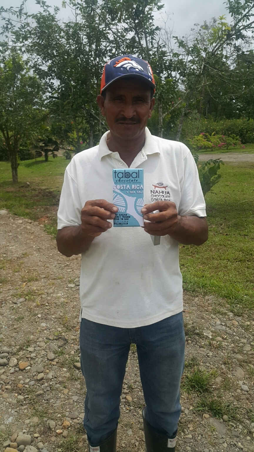 Cacao farmer with Tabal Chocolate made with his beans