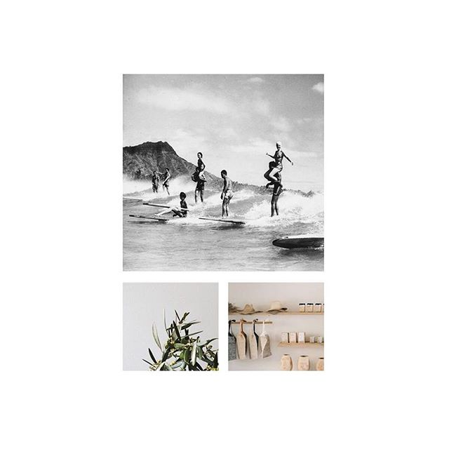 You know it's going to be a fun project when the client sends old black and white surf photos mixed with an all neutral palette for inspiration 😍