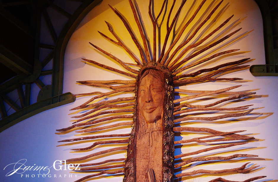 Image carved on a 39- foot tall tree trunk in Chapel of Guadalupe.