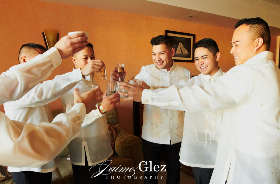 But first, a little celebration with groomsmen.
