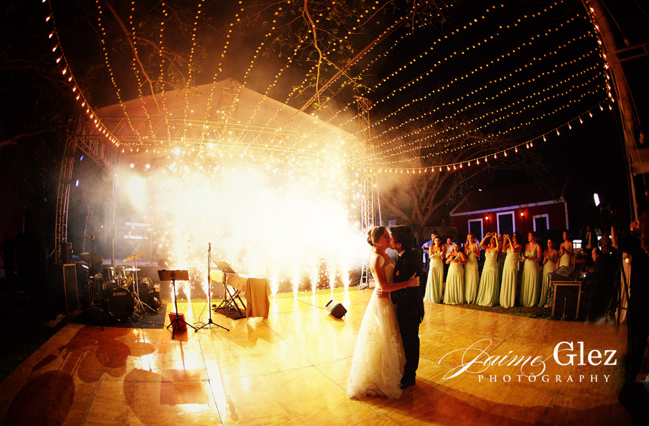 So romantic having their first dance with fireworks and outdoor lightning.