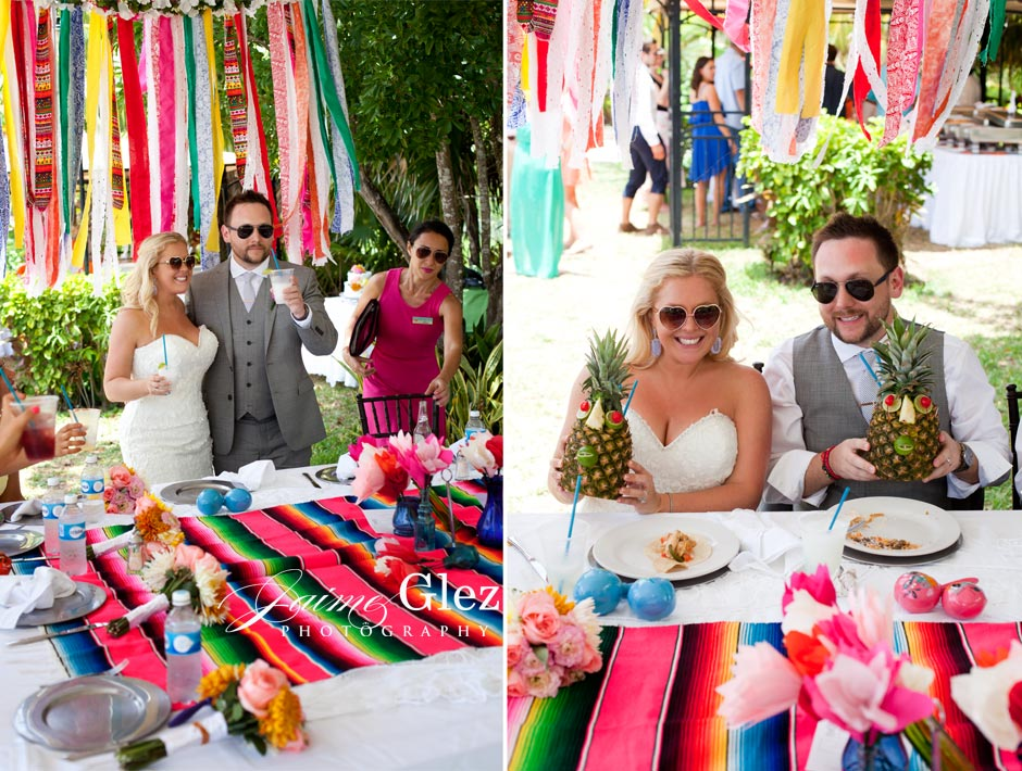 "Mexican style wedding decor. The couple enjoying ""piñas coladas"". Love it!"