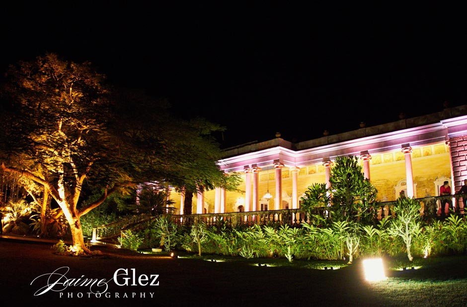 Night view of the Main House of Hacienda Tekik de Regil in Yucatan.