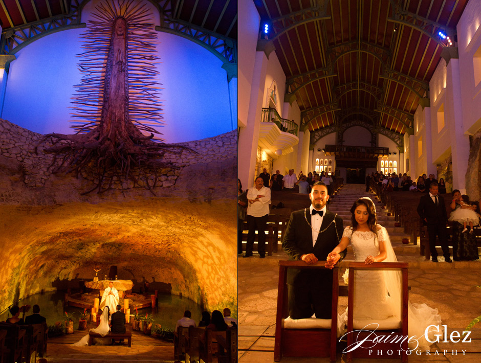 Wedding religious ceremony at the Lady Guadalupe Chapel in Xcaret.