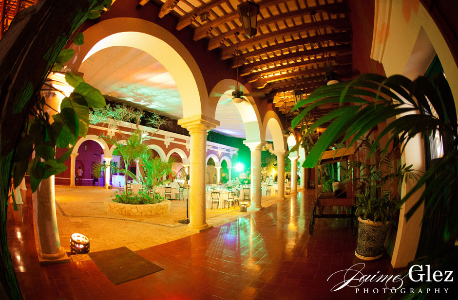 Wedding reception at Hacienda Desfibradora de Henequén in Xcaret, Mexico.