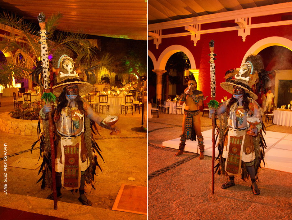 Mayan rituals to receive the newlyweds.