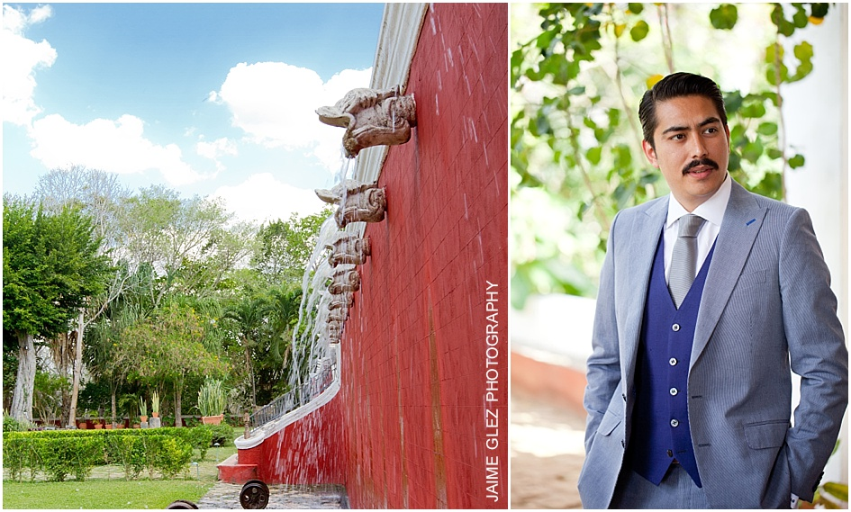 A groom with style posing in the areas of the hacienda.
