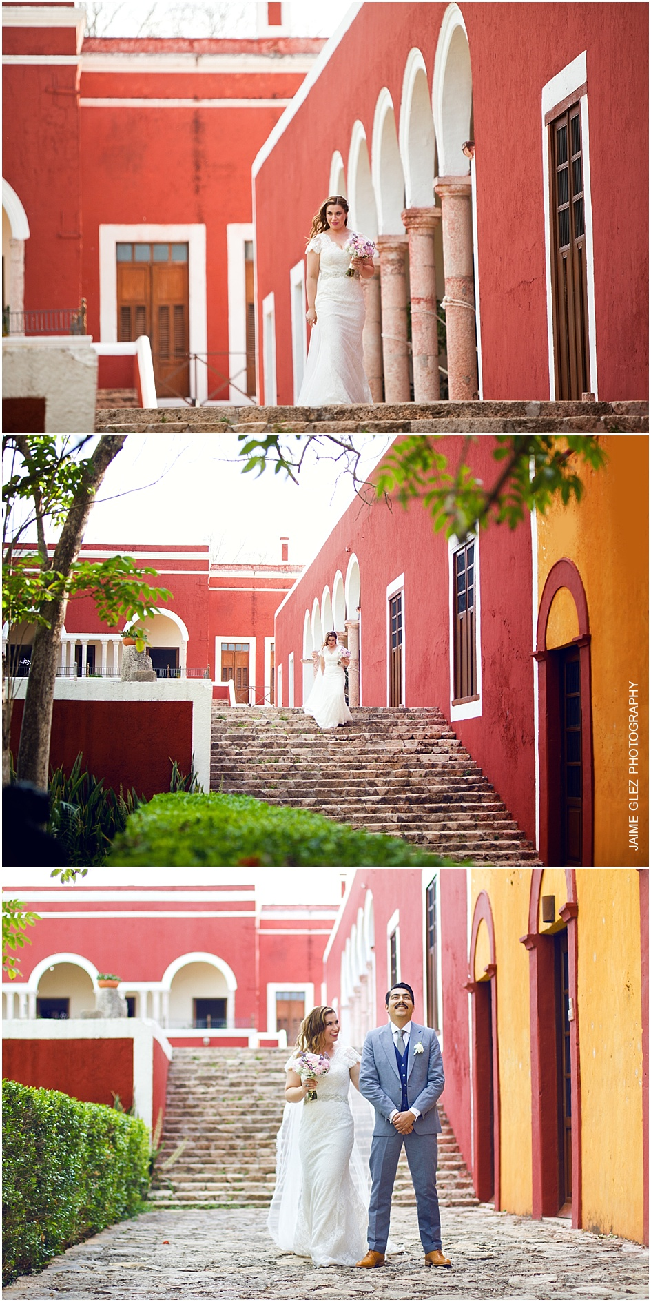 Emotive First look of bride and groom in Hacienda Temozon.