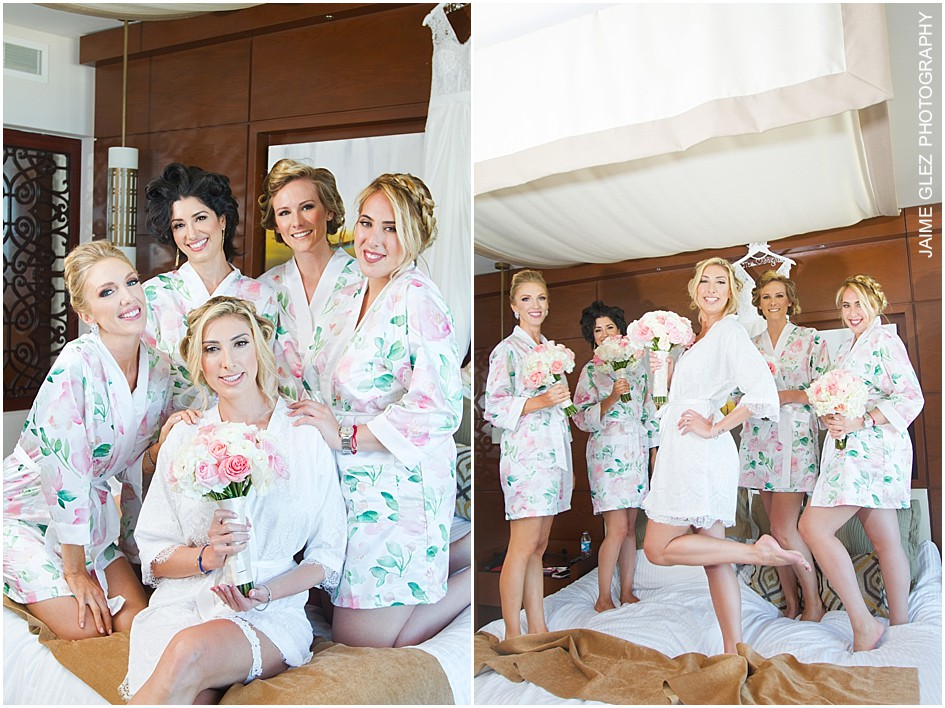 Bride and bridesmaids looking great in their floral lace robes.