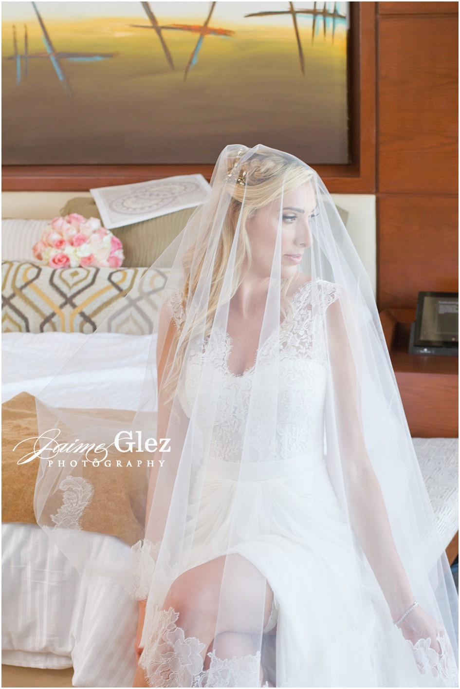 A very romantic bridal photo with veil.