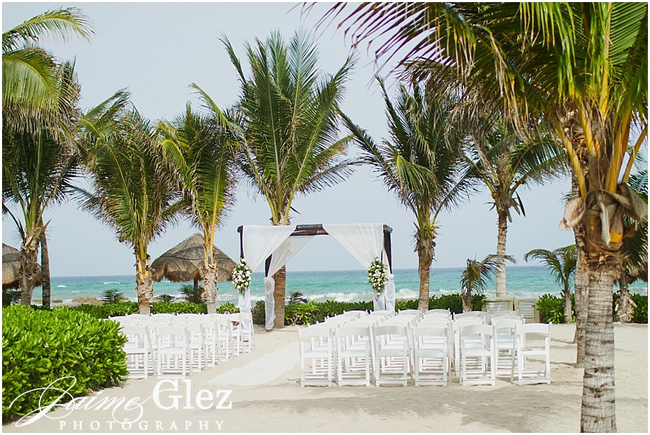 Lovely wedding ceremony set up with unique caribbean sea view.