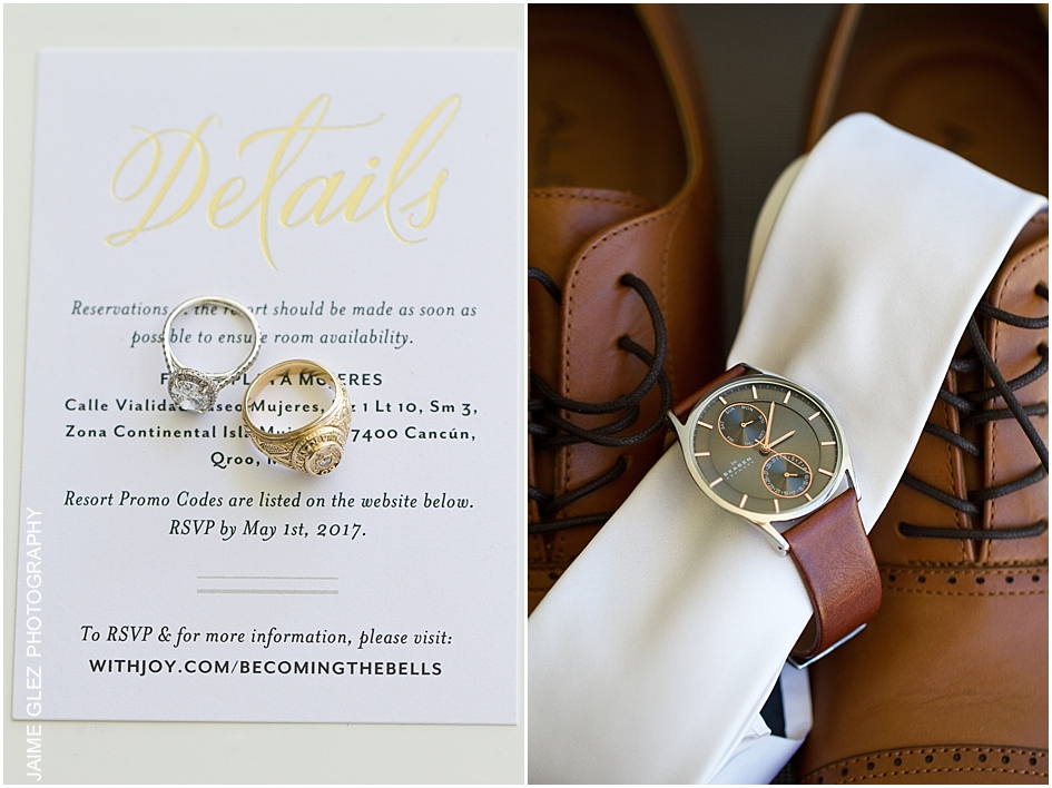 Lovely bride & groom gifts. They exchanged mutual presents during the getting ready.