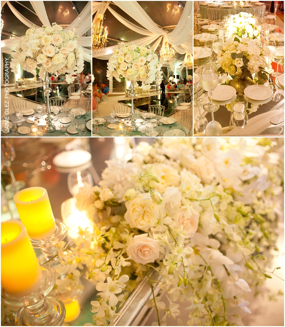 Elegant and romantic white roses venue decor.