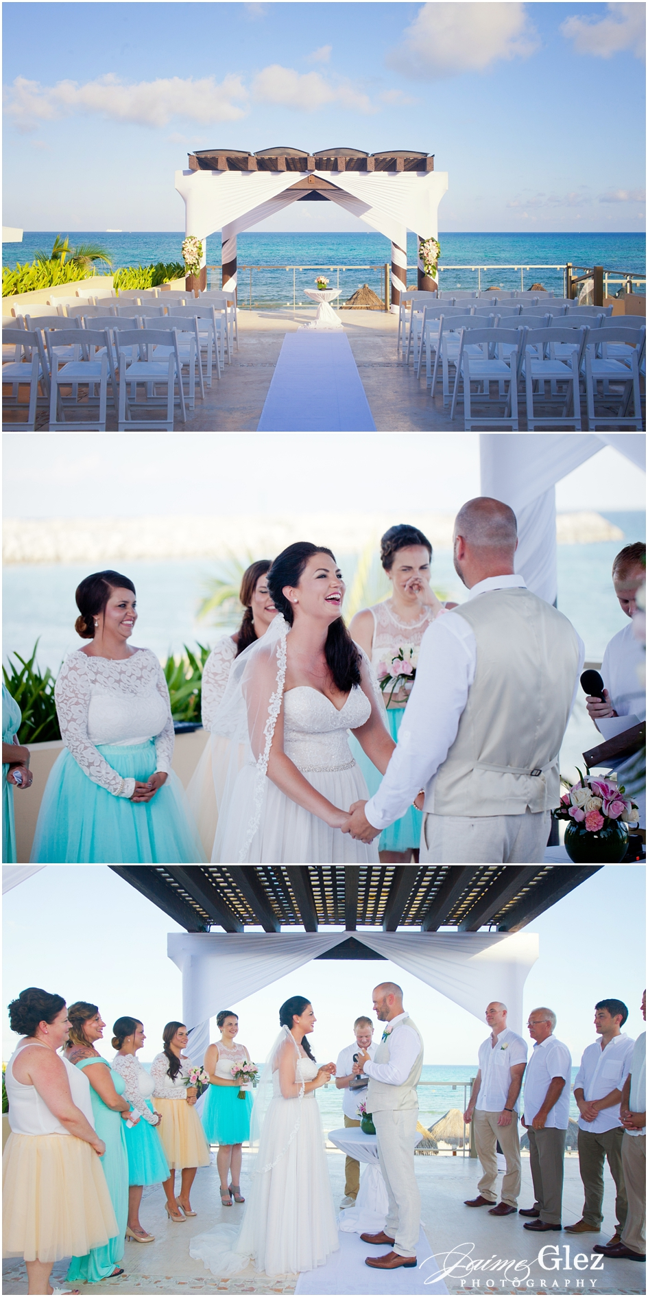 Seaside wedding ceremony filled by romanticism and fun.
