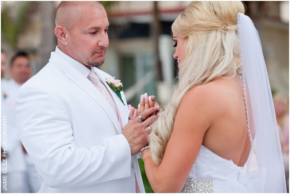 Moment of sharing inspirational wedding vows.