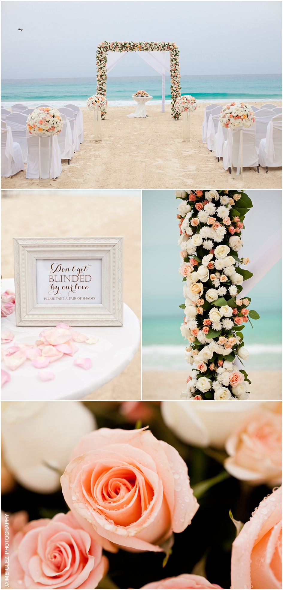 Sweet romantic beach wedding ceremony decor. Love the coral color roses!