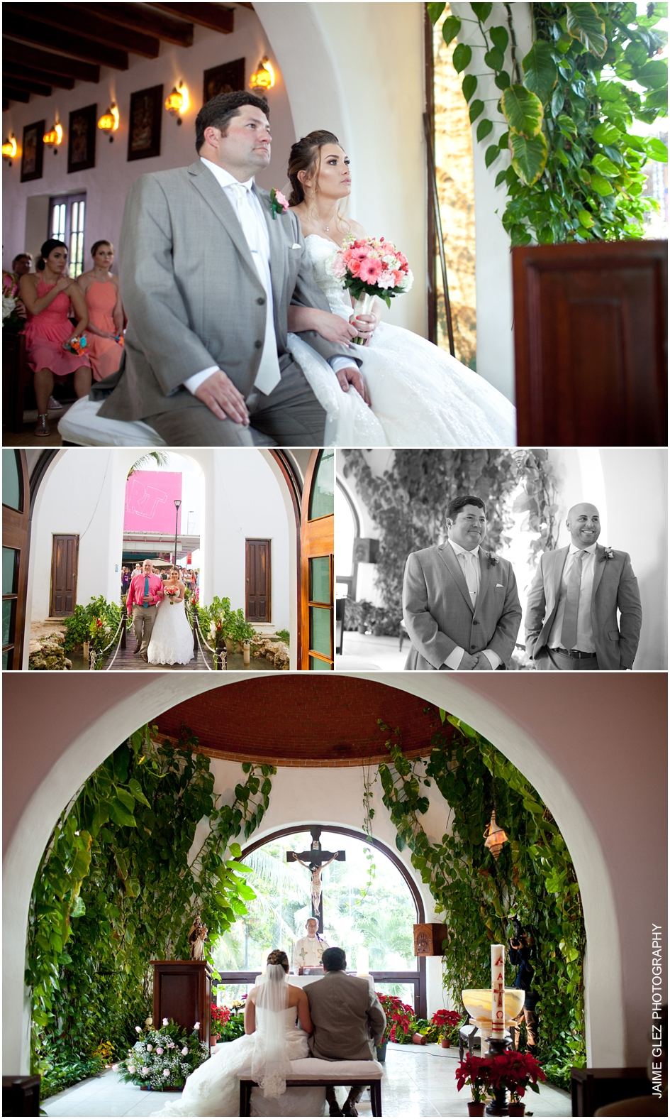 Intimate wedding ceremony at Nuestra Señora del Carmen.