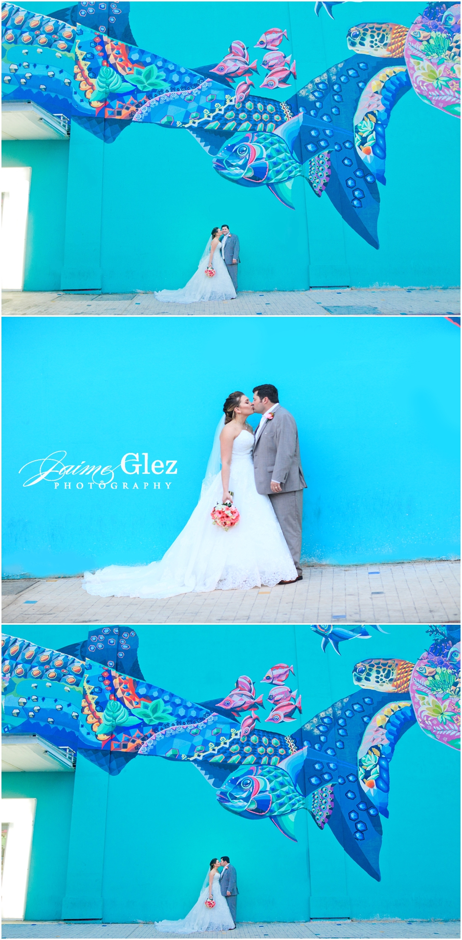 Newlyweds posing in front of a folkloric mural created by Mexican artist Senkoe in Playa del Carmen.