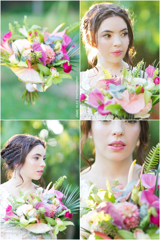 Bellísimo colorido bouquet de novia diseñados con flores exóticas.
