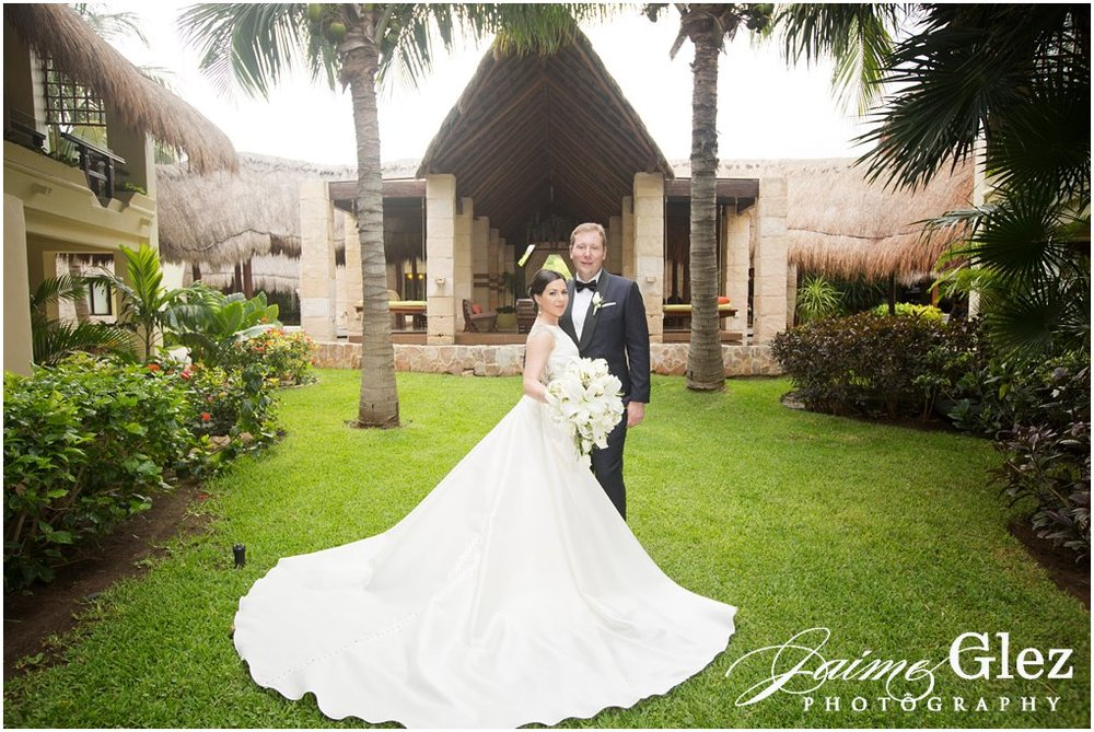 Bride and groom in photo session at Azul Beach Resort.
