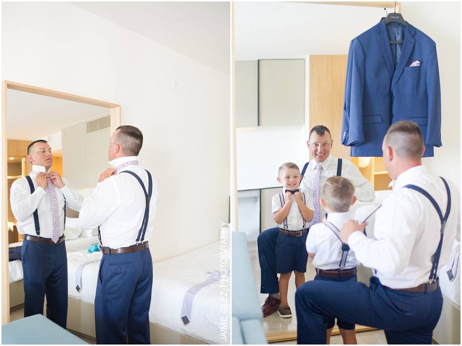 Groom and son during the getting ready.