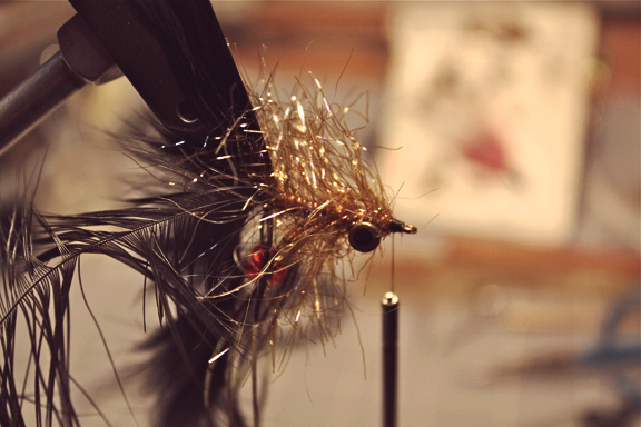 wrap the rest of the way to the hook eye and tie off.