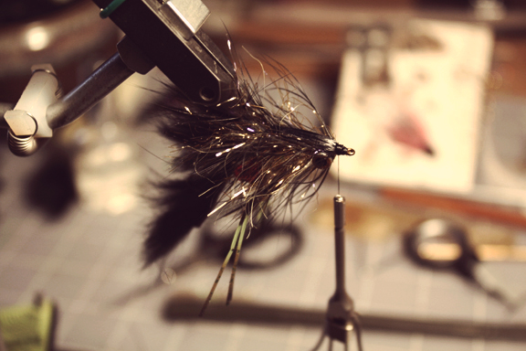 pull the swiss straw forward over the entire back. whip it and go fish it where some smallies are lurking.