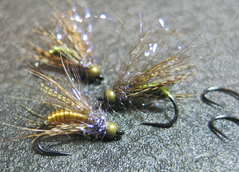 yellow/tan & olive are my favorites. this trio used partridge for the soft hackle step.