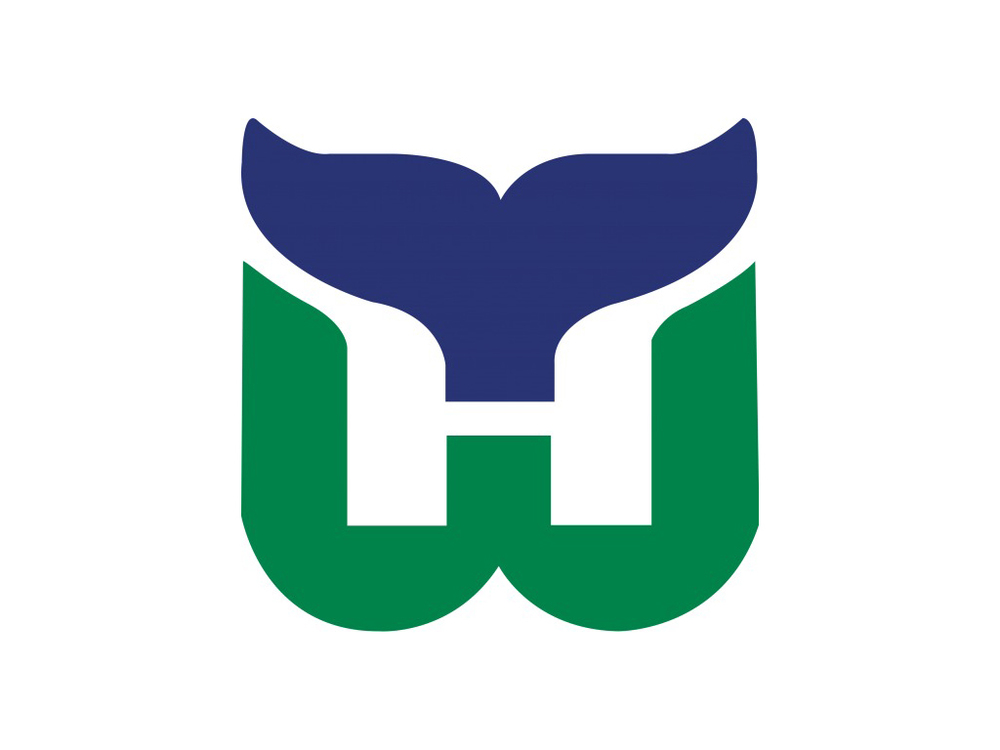 The original Hartford Whalers logo (1979–1992), designed by Peter Good, a Connecticut-based graphic designer.