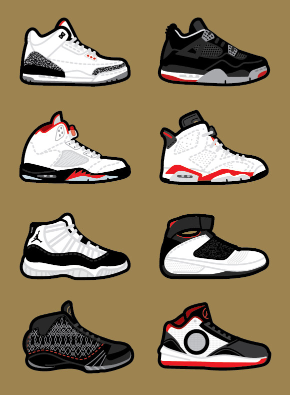 Nike: Air Jordans done by  Robb Harskamp