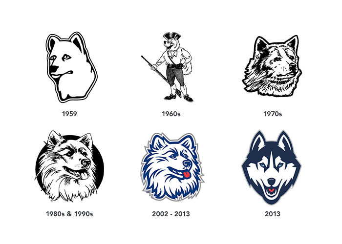 evolution of the Husky logo