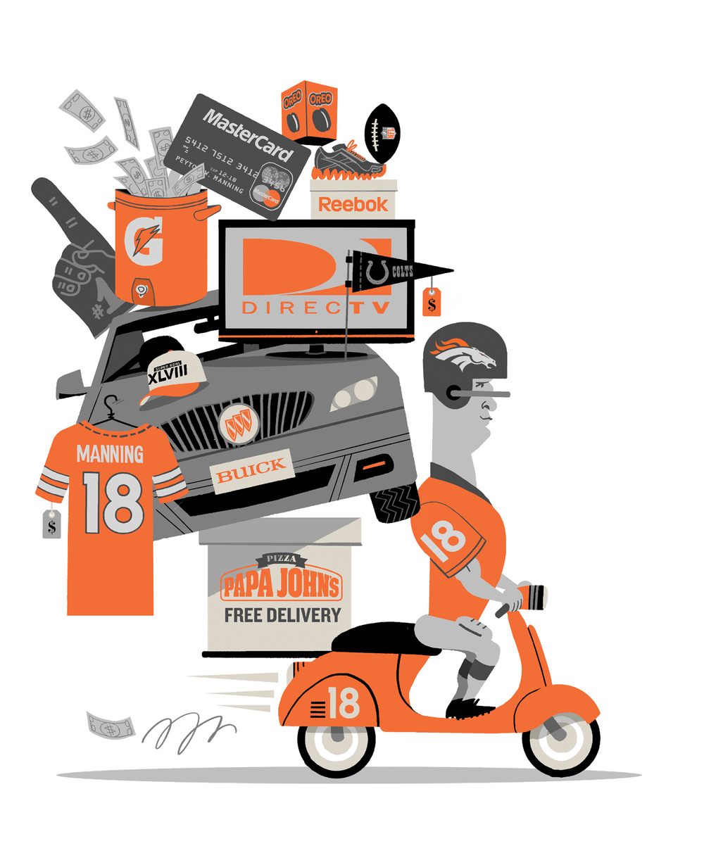 Football illustration about Peyton Manning for the Sunday   Times  .