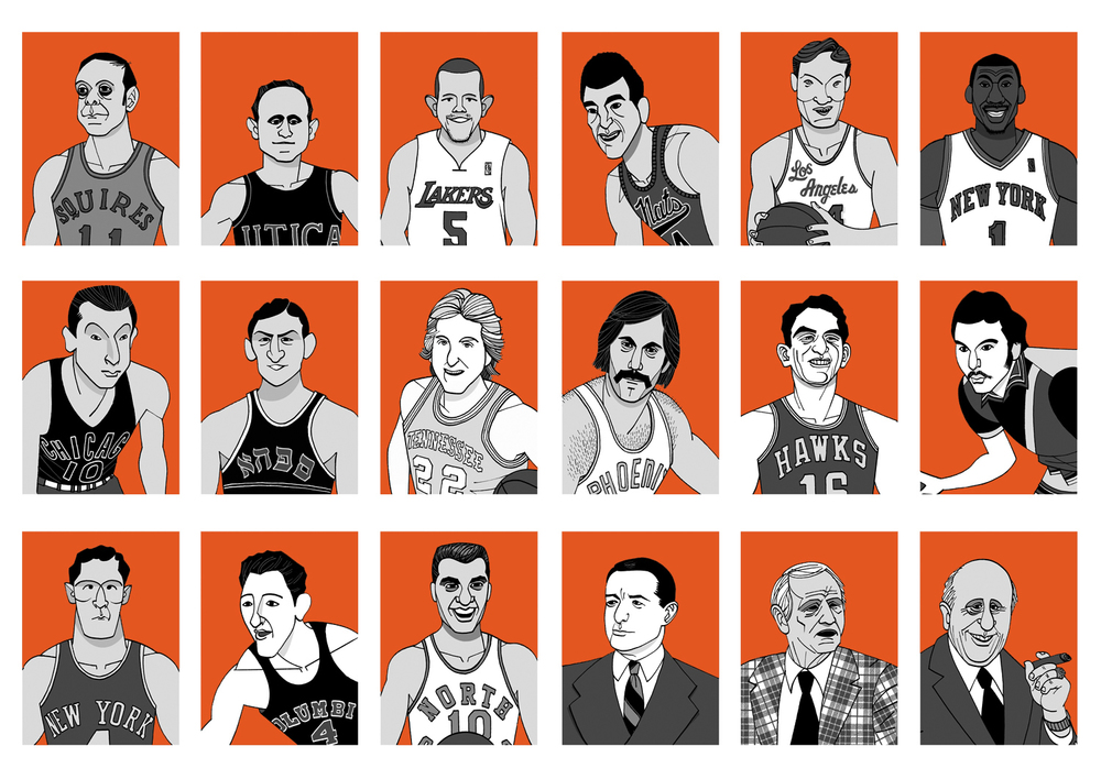 "Illustrations for   Tablet  , as part of an on-line game snappily titled ""The Choose Your Own All-Time Greatest Jewish-American Basketball Team Game!"""