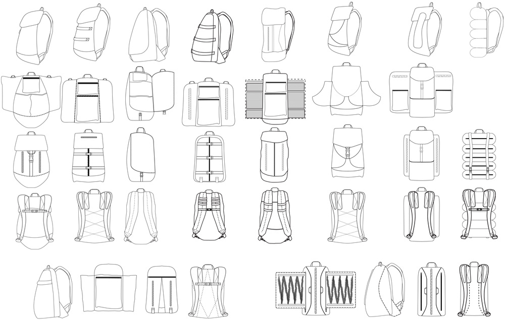 Initial sketches for transforming backpack