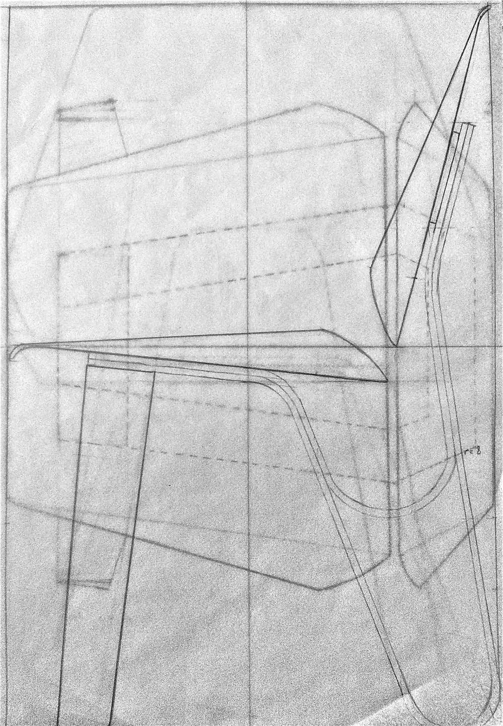 Full scale technical drafting of side, top and front view.
