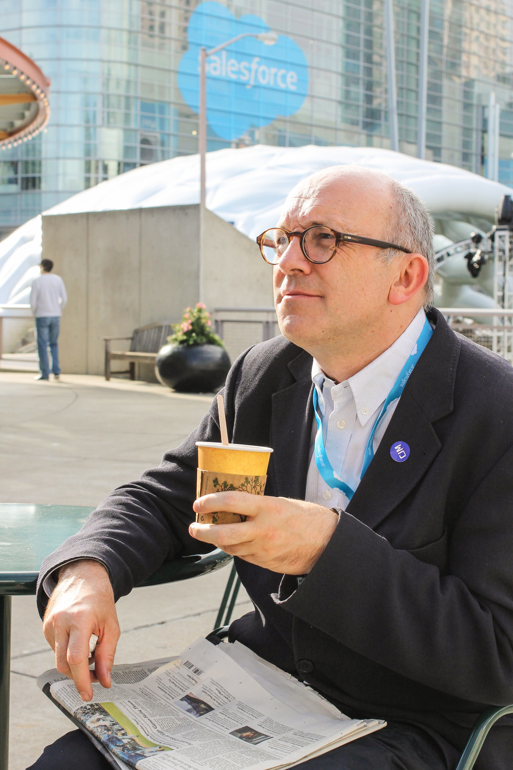 Taking a coffee break during the Dreamforce Convention. #conferencetime